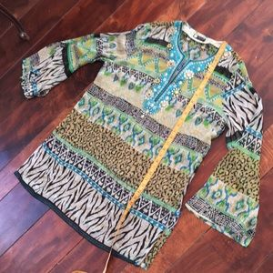 Carole Little sheer tribal oversized tunic dress